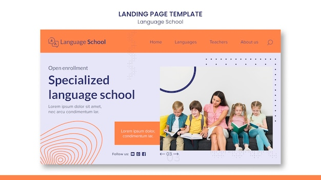Landing page for language school
