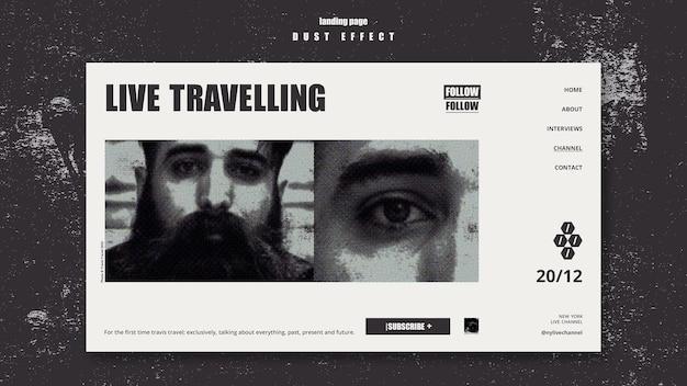 Modello di viaggio dal vivo della pagina di destinazione