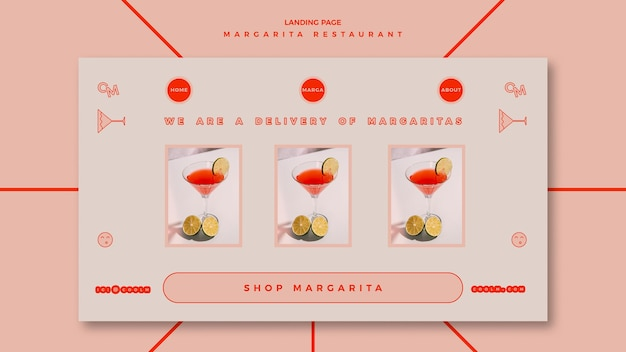 Landing page for margarita cocktail drink