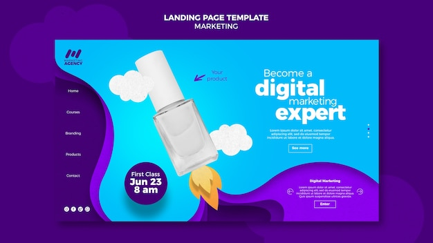 Landing page for marketing company with product