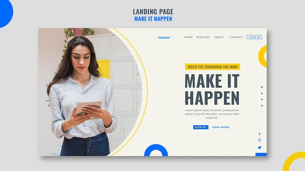 Landing page memphis business ad template