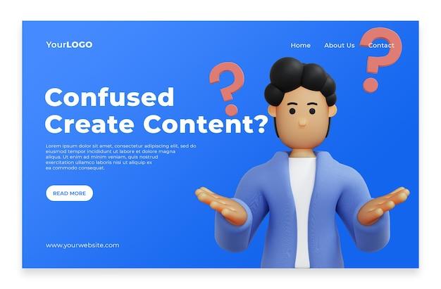 방문 페이지 남자는 콘텐츠 홈페이지에 대한 아이디어를 생각합니다. premium psd