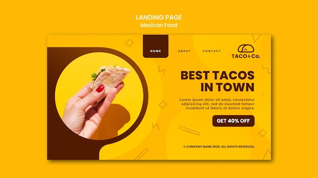 Landing page for mexican food restaurant