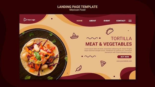Modello di ristorante messicano della pagina di destinazione