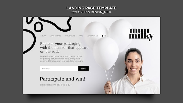 Landing page for milk with colorless design