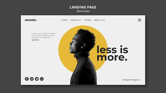Landing page in minimal style for art gallery with man
