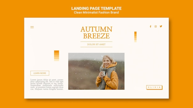 Landing page for minimalist autumn fashion brand