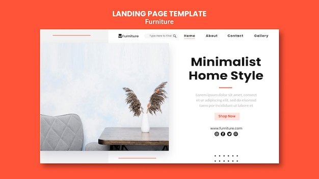 Landing page for minimalist furniture designs