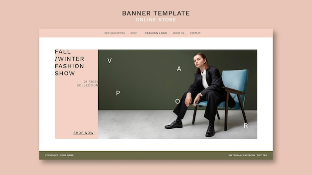 Landing page for minimalistic online fashion store