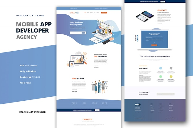 Landing page for mobile app developer coding agency