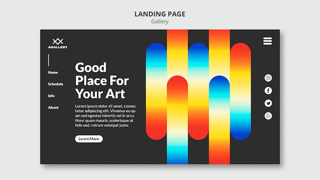 Landing page for modern art exposition