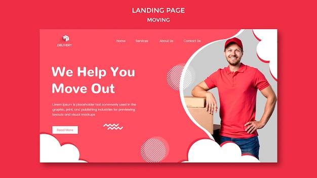 Landing page for moving company