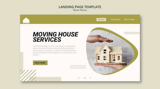 Landing page for moving house services