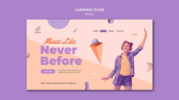 Landing page for music with woman using headphones and dancing