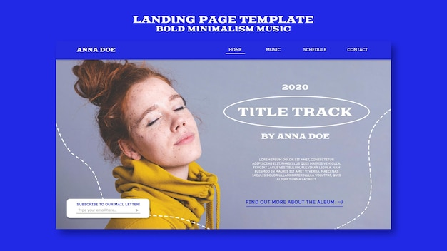 Landing pagefor musician