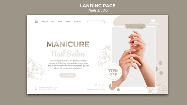 Landing page for nail salon