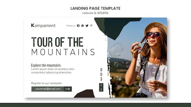 Pagina di destinazione per l'esplorazione della natura e il tempo libero