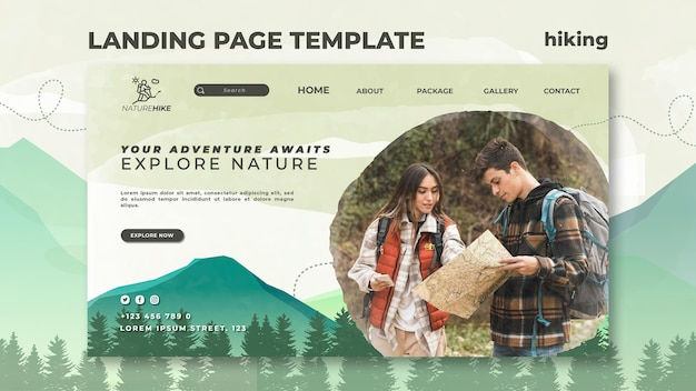 Landing page for nature hiking