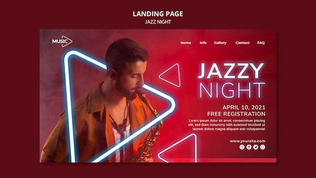 Landing page for neon jazz night event