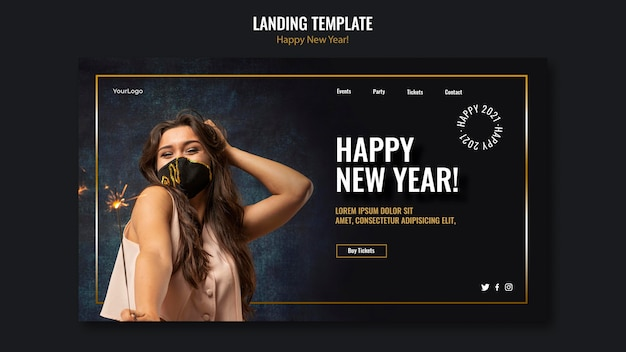 Landing page for new year celebration