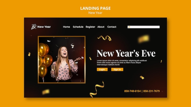 Landing page for new year party with woman and confetti