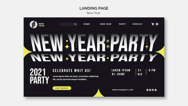 Landing page for new year party