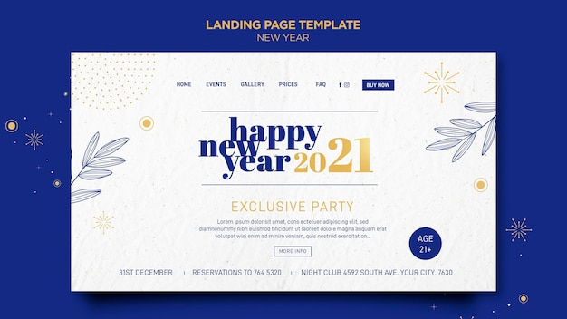 Landing page for new years party celebration