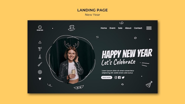 Landing page for new years party