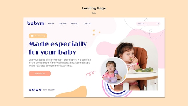 Landing page for newborn baby