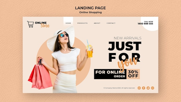 Landing page for online fashion sale