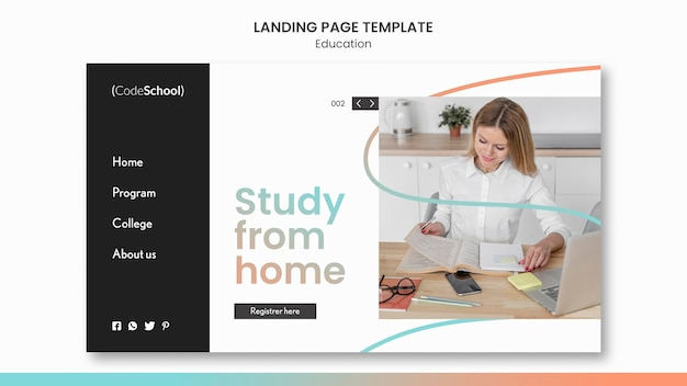 Landing page for online programming school