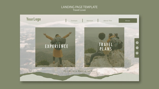 Landing page for outdoors traveling