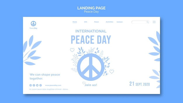 Pagina di destinazione per il giorno della pace