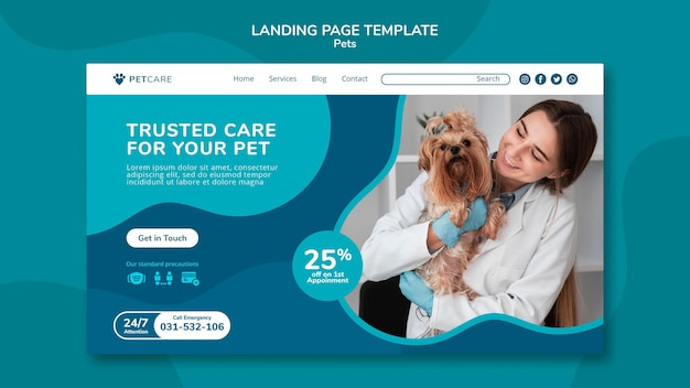 Landing page for pet care with female veterinarian and yorkshire terrier dog