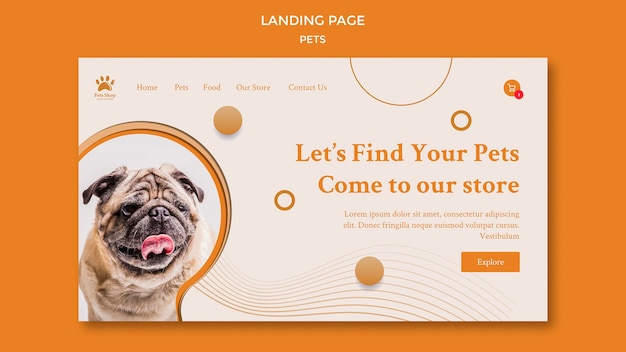 Landing page for pet shop with dog