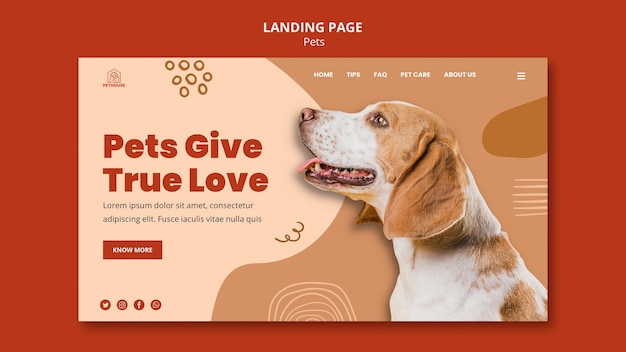 Landing page for pets with cute dog