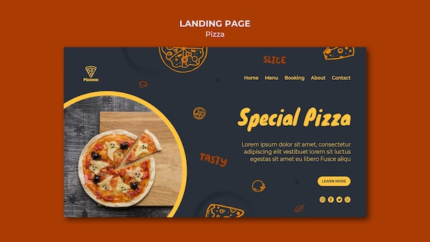 Landing page for pizza restaurant