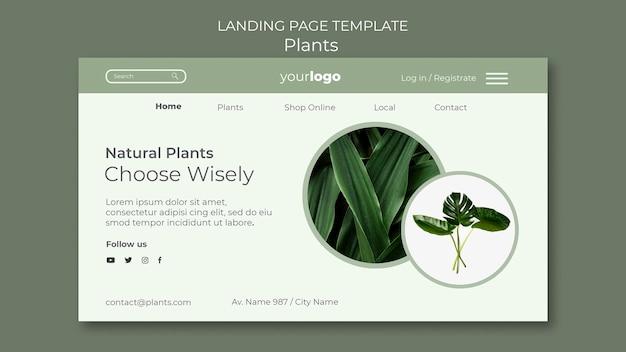 Modello di negozio di piante della pagina di destinazione