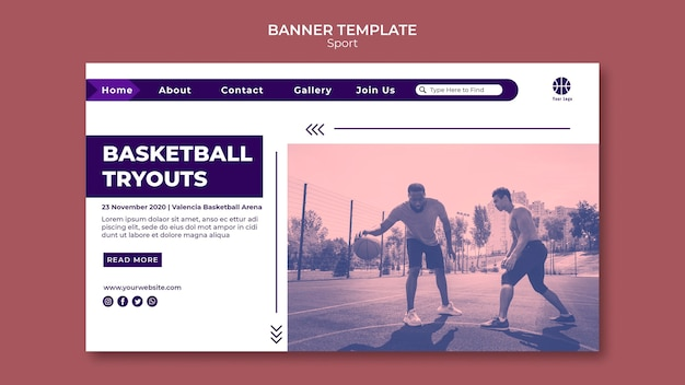 Landing page for playing basketball