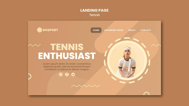 Landing page for playing tennis