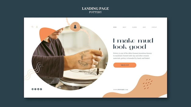 Landing page for pottery with clay vessels Free Psd