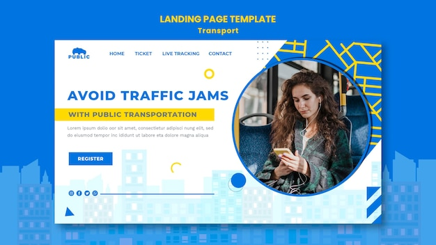 Landing page for public transportation with female commuter