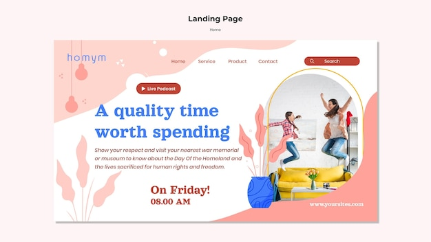 Landing page of quality time with family template