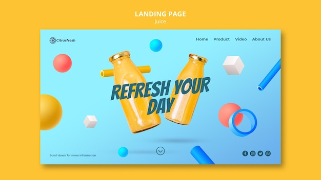 Landing page for refreshing orange juice in glass bottles