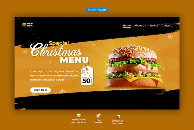 Landing page for restaurant with christmas fast food menu