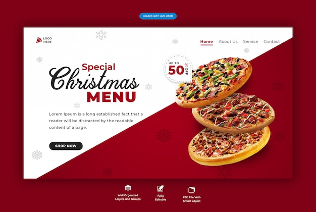 Landing page for restaurant with christmas special food menu