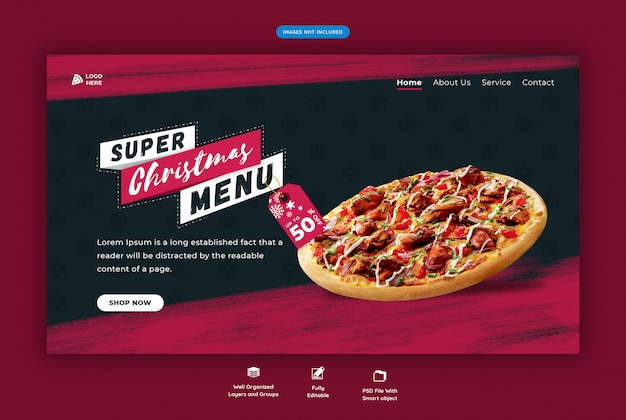 Landing page for restaurant with christmas special pizza