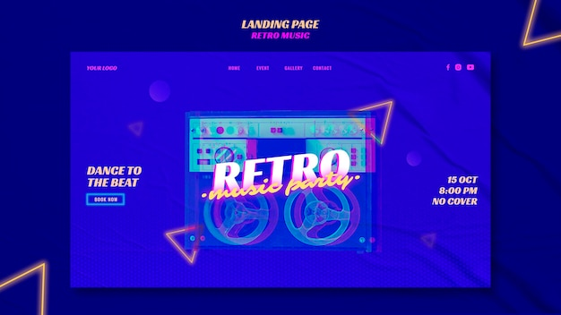 Landing page retro music party template