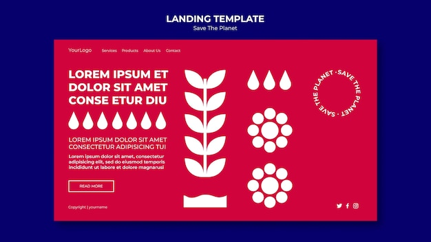 Landing page save the planet template