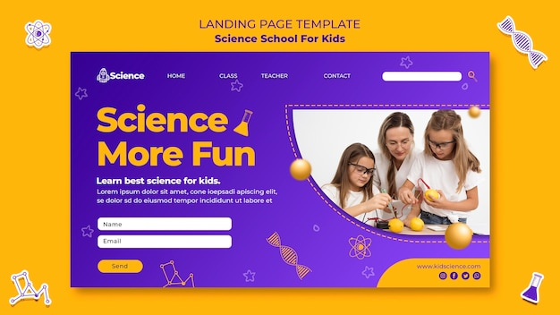 Landing page for science school for children